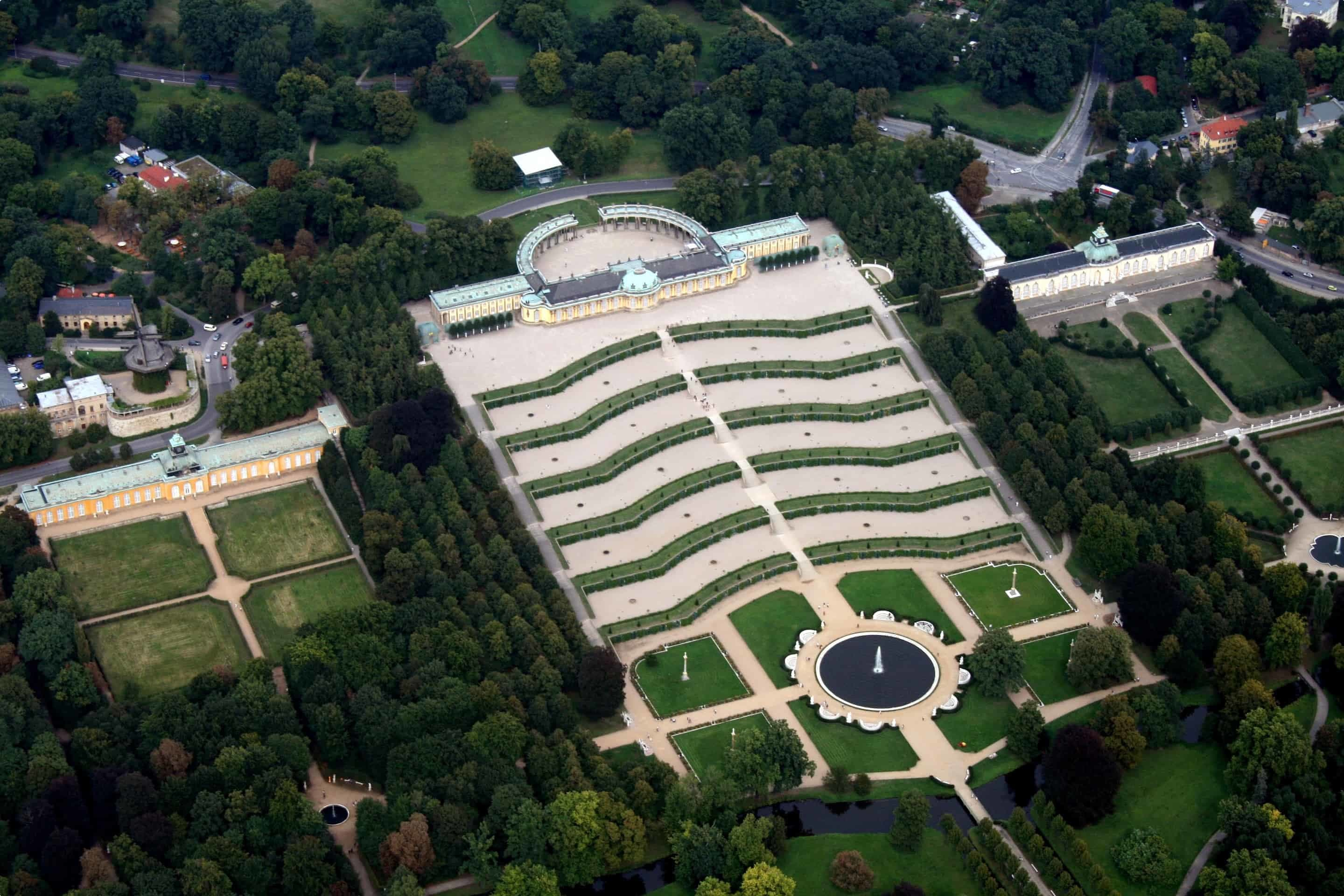 An aerial view of Sanssouci Palace