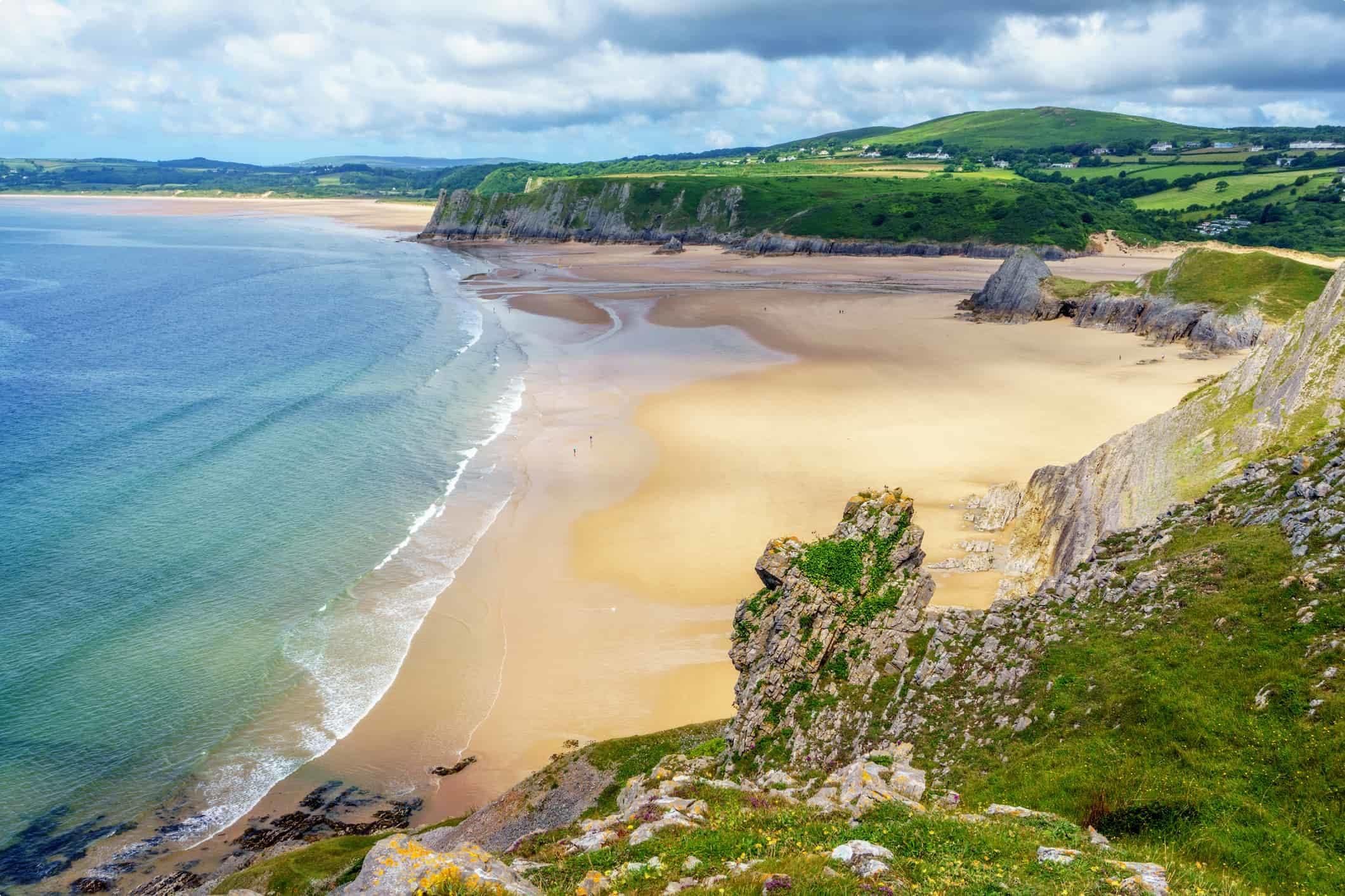 Three Cliffs Bay on Gower Peninsular, Wales, UK