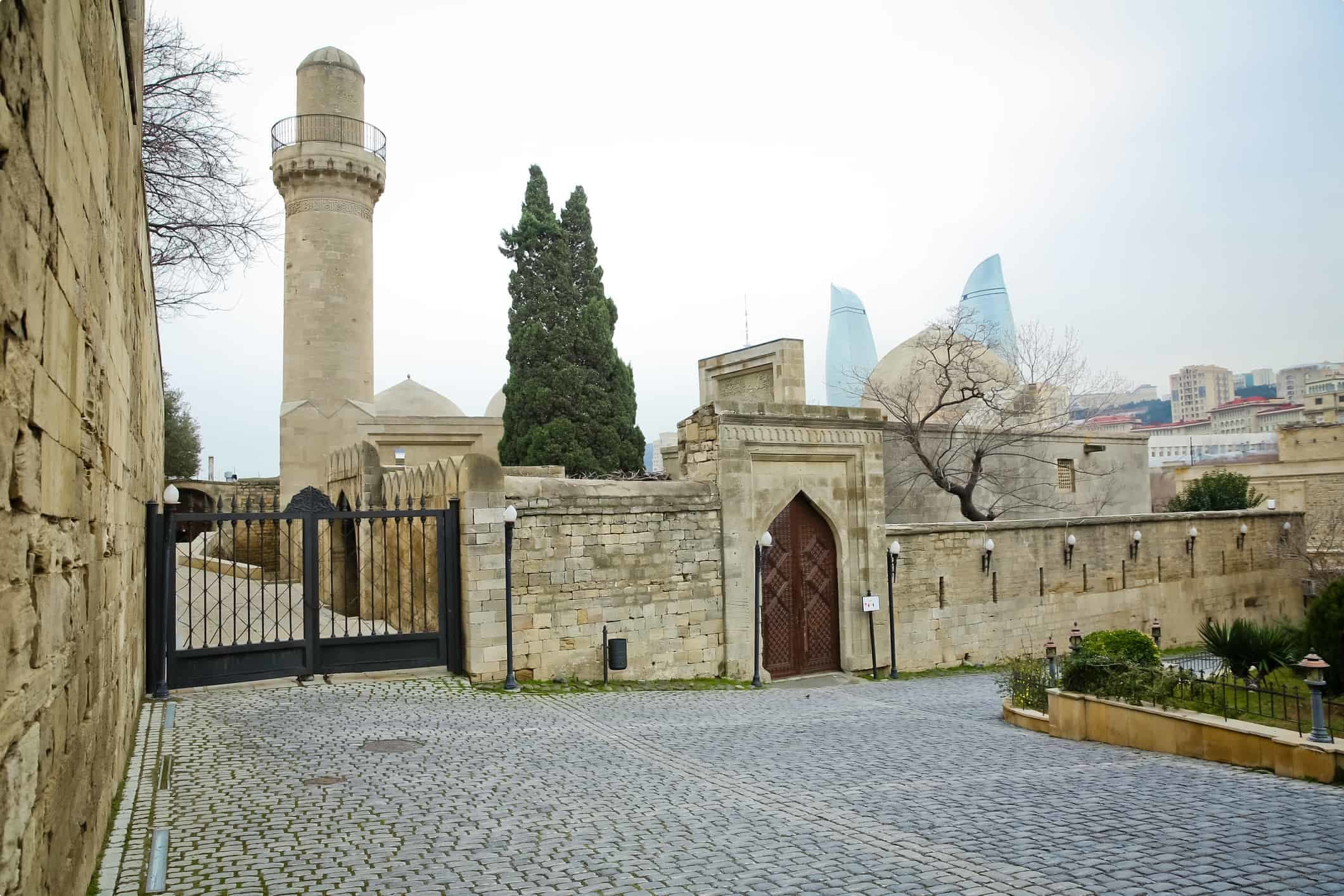 View of the mosque and minaret in the Palace of the Shirvanshahs, Baku, Azerbaijan