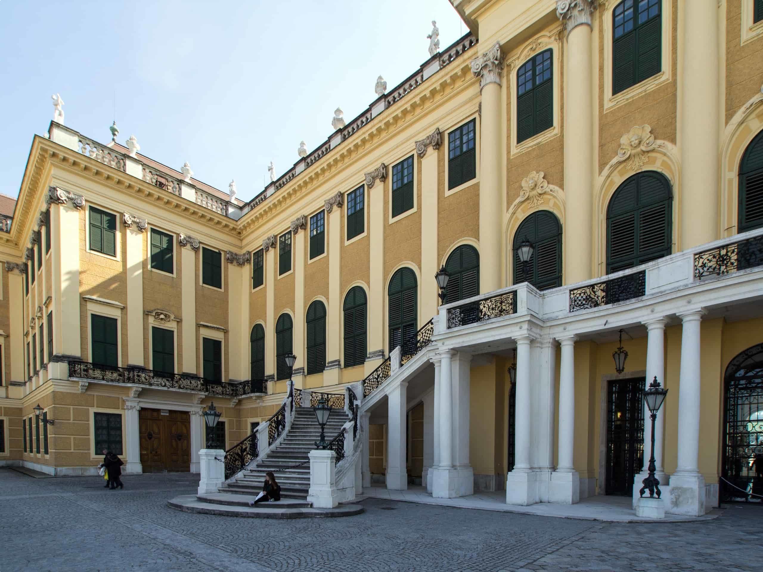 A close-up of the palace near the main entrance