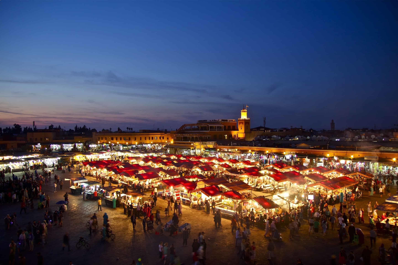 The Marrakech market at night, Marrakech, Morocco