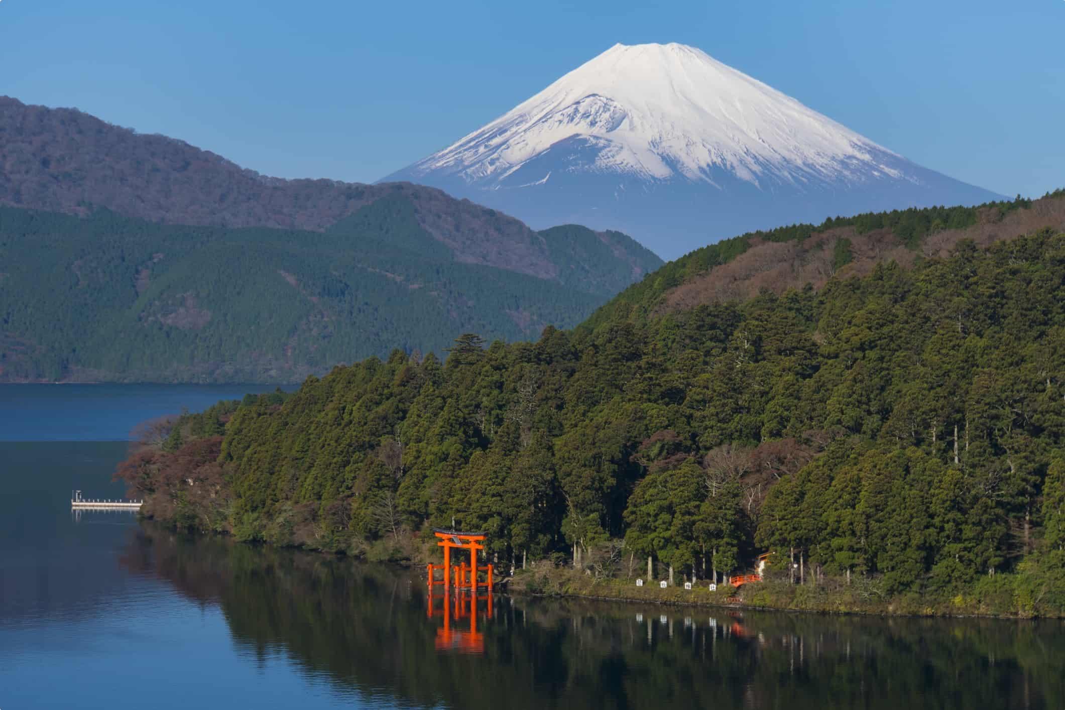 Mt Fuji and Lake Ashi with the red torii gate of Hakone Shrine, Japan