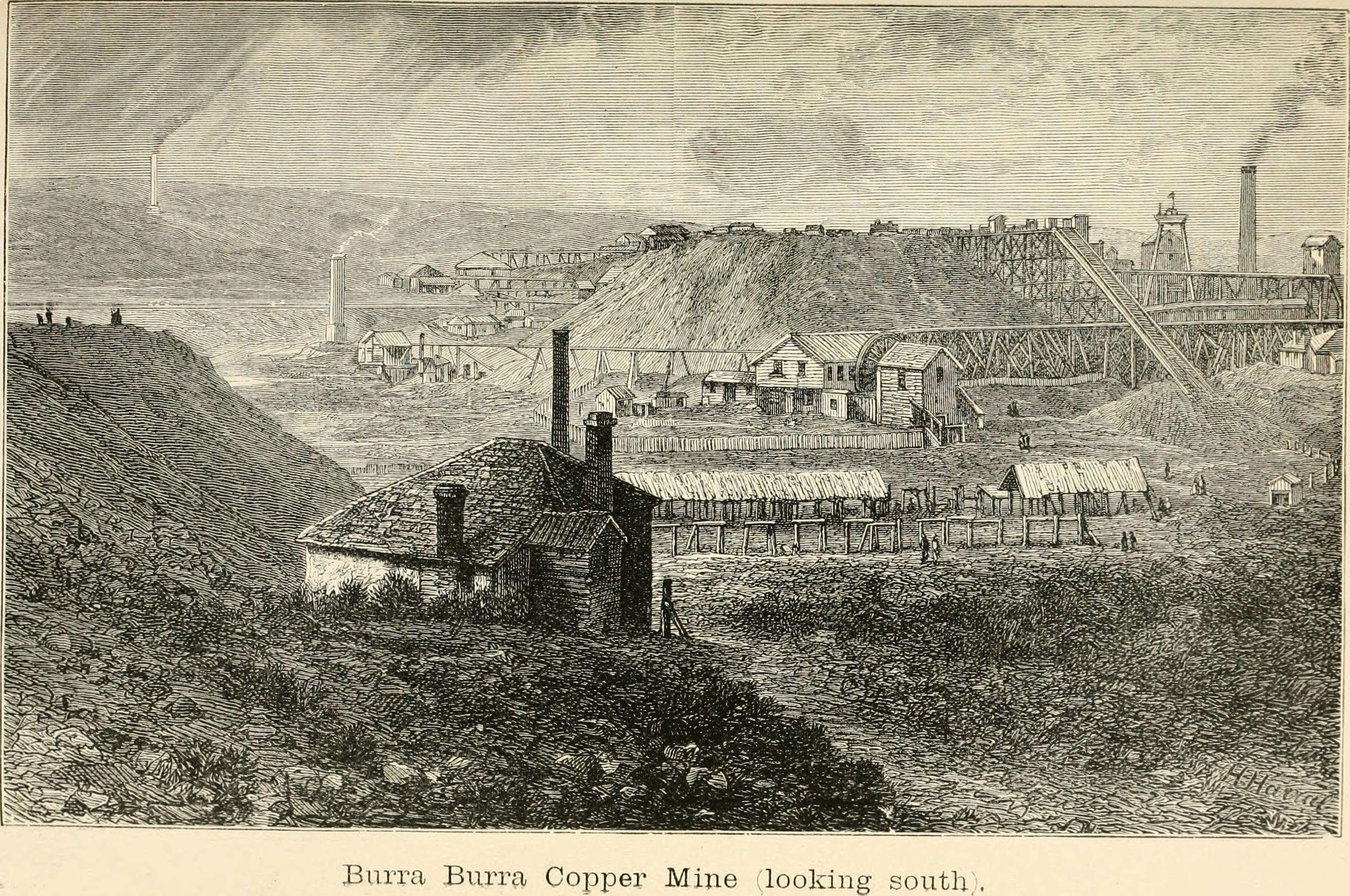 1883 drawing of the Burra Burra Mine.