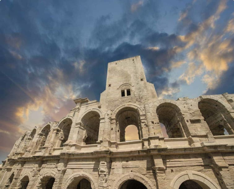 Roman amphitheater (Arena) in Arles, Provence, France.