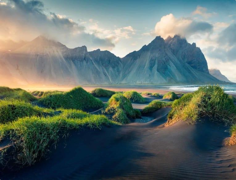 Black sand dunes on the Stokksnes headland on southeastern Icelandic coast