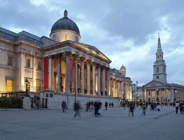 National Gallery in London at dusk