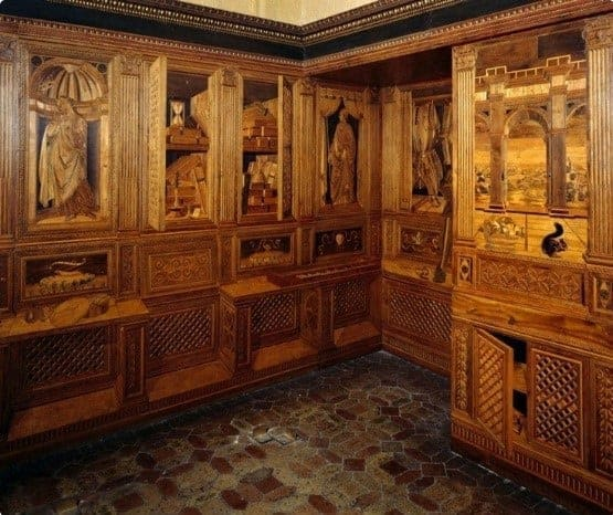 Federico's studiolo in the palace at Urbino includes exceptional decorations
