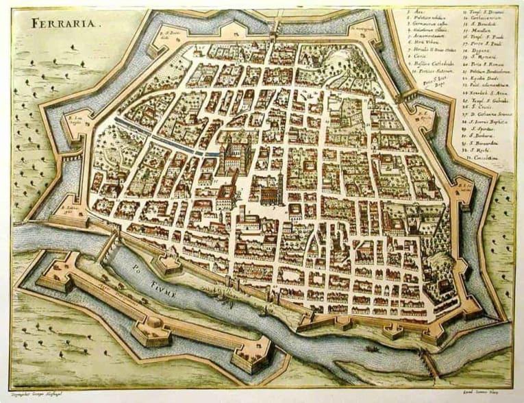 A map of Ferrara around 1600.