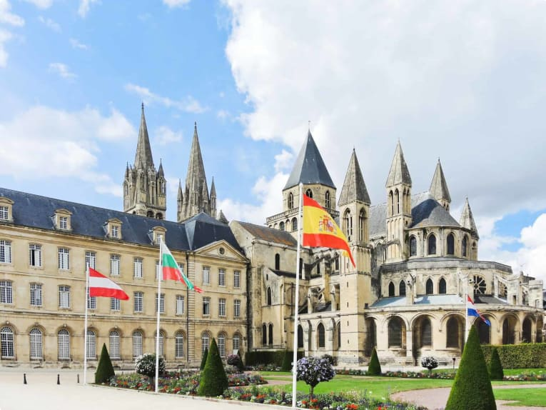 view of Abbey of Saint-Etienne (Abbaye aux Hommes) in Caen city, France