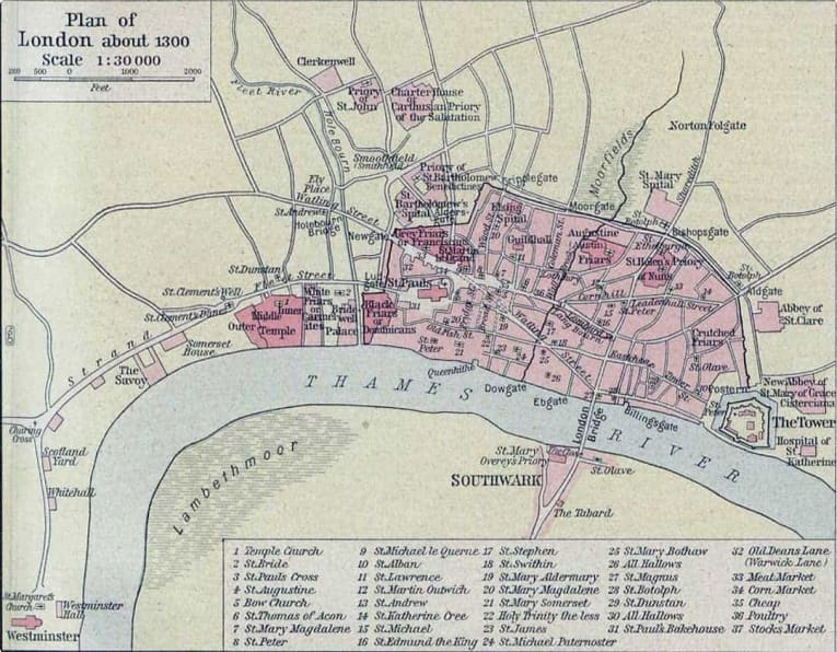 Map of London in 1300