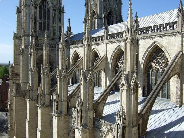 An example of flying buttresses used as a support structure on a cathedral