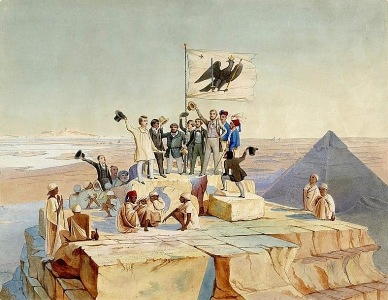 The Prussian expedition to Egypt under Lepsius celebrates the birthday of King Friedrich Wilhelm IV at the summit of the Pyramid of Cheops on October 15, 1842
