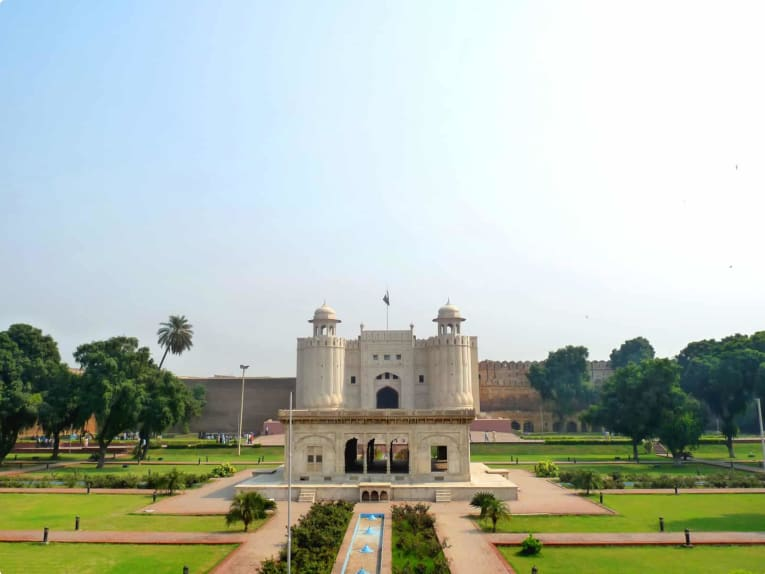 View of Lahore Fort and green fields