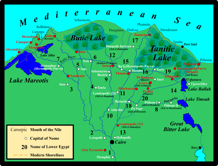 A map of the Nile River Delta