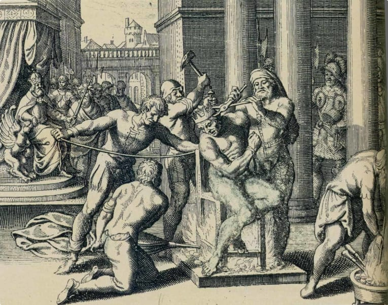 A depiction of the execution of György Dózsa. who was said to have been killed on a red-hot iron.
