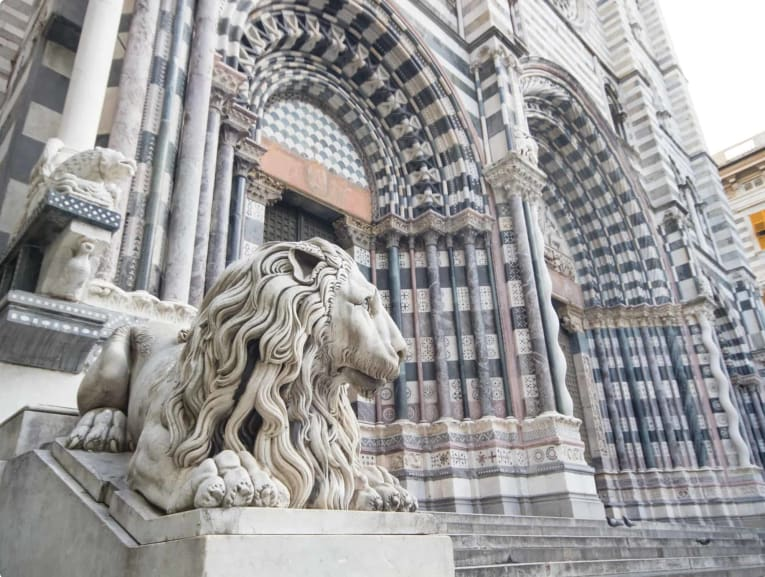 Statue of a lion outside the Cathedral of San Lorenzo, Genoa, Italy