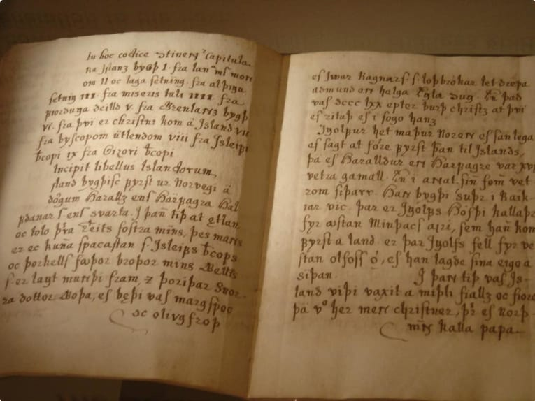 A page from Íslendingabók, the Book of Icelanders