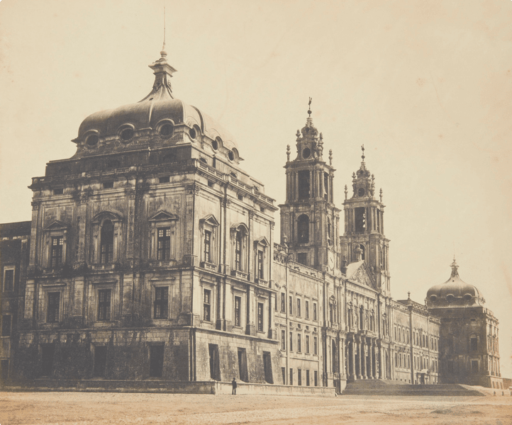 A photograph of Mafra Palace in the 1850s