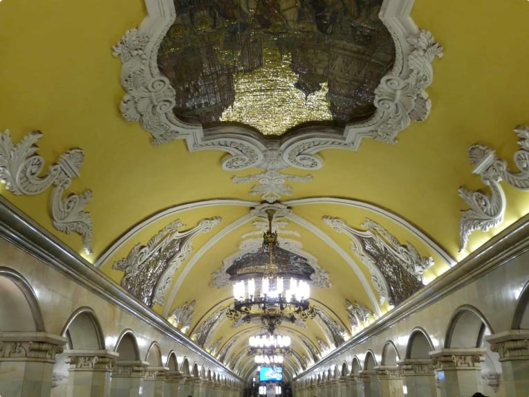 Metro station Komsomolskayain Moscow, Russia