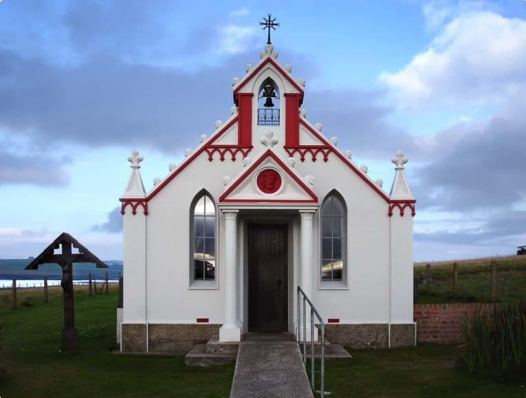 The exterior of the Italian Chapel