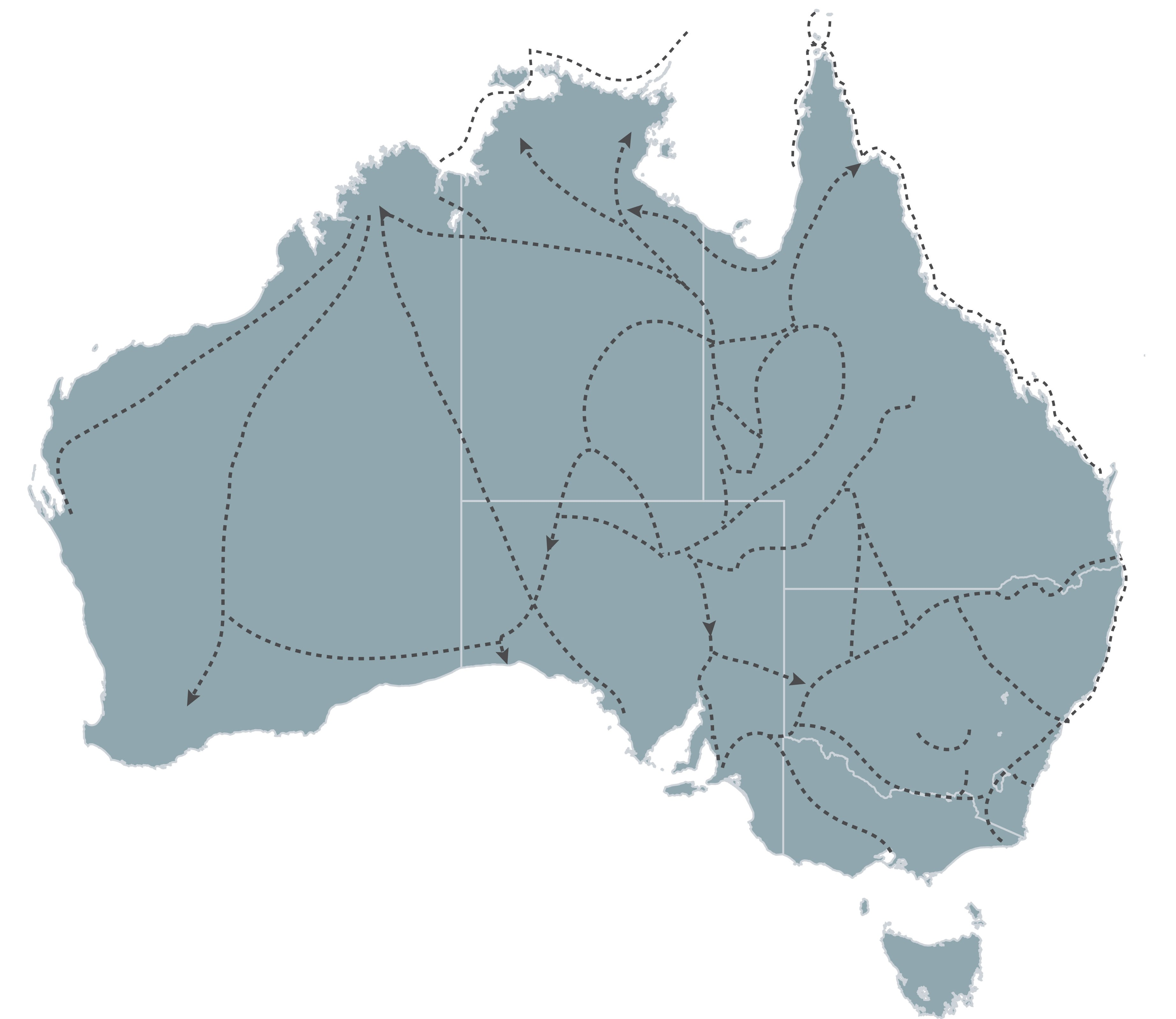 Aboriginal trading routes - map