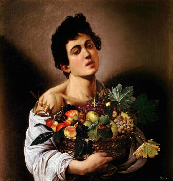 Boy with a Basket of Fruit Caravaggio painting