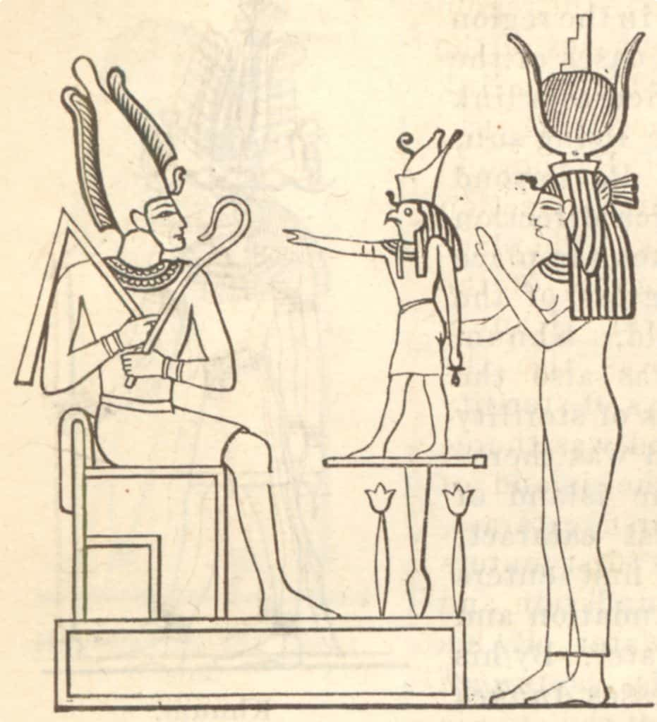 A depiction of Osiris, Isis and their son, Horus