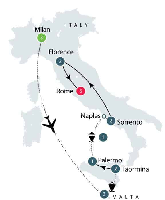 Caravaggio small group tour map