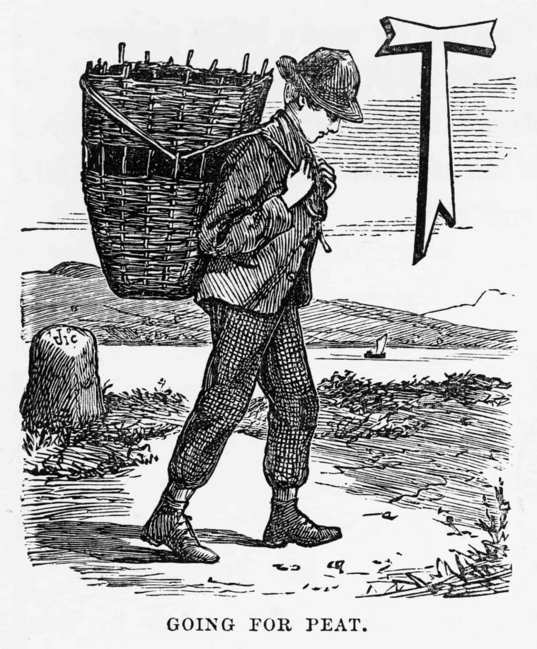 Going for Peat, Isle of Skye, Scotland Victorian Engraving, 1840