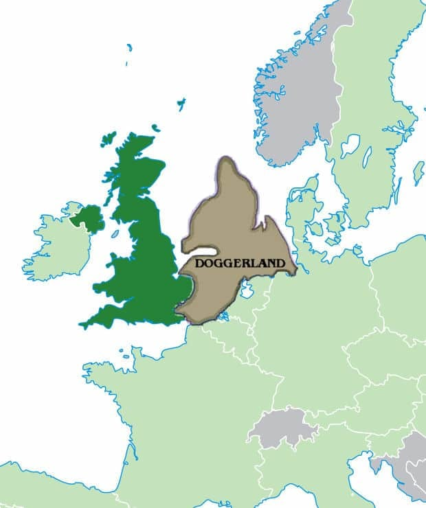 A map showing where Doggerland would be today - between the British Isles and mainland Europe