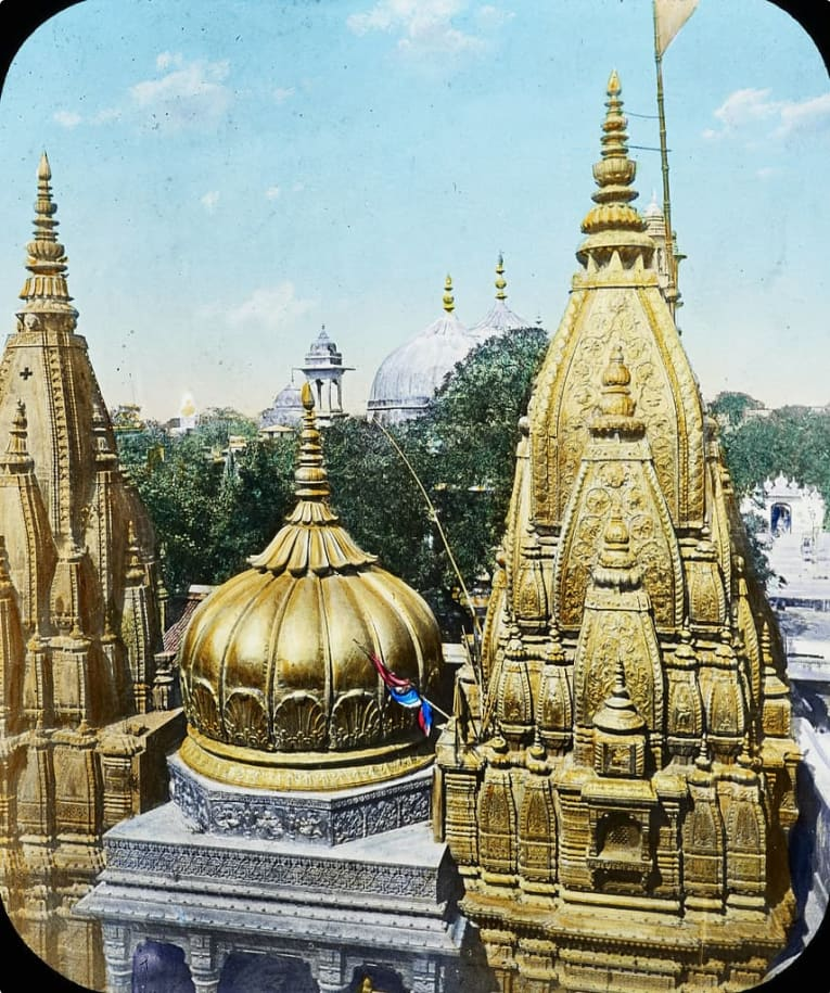 The golden tower and dome at Vishwanath temple