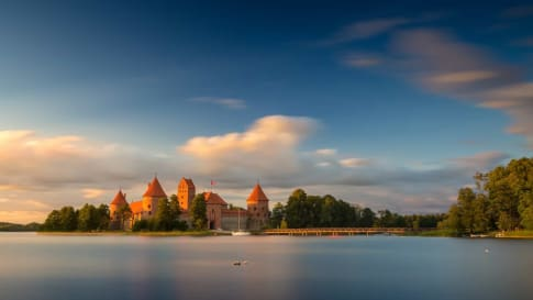 Old castle in sunset time. Trakai, Lithuania