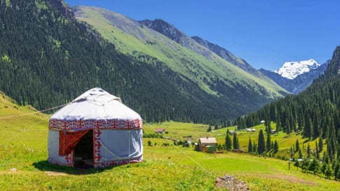 A yurt in the mountains of Kyrgyzstan