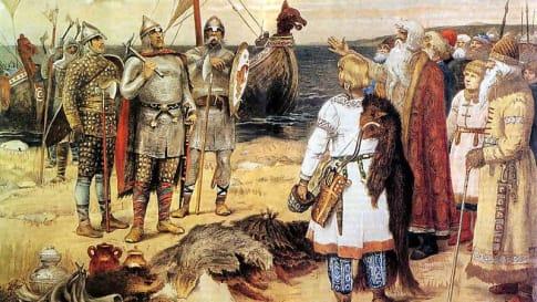 Rurik and his brothers arrive in Staraya Ladoga