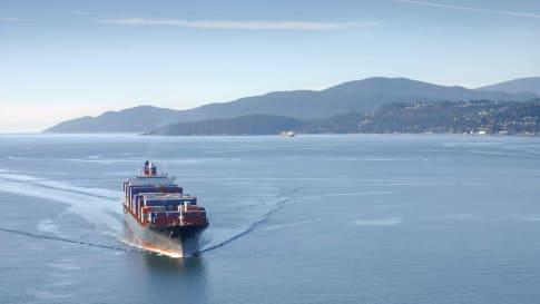 Aerial image of a cargo ship along the coast.