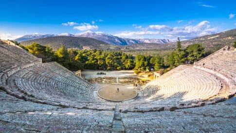 The ancient theater of Epidaurus Argolida prefecture, Peloponnese, Greece.