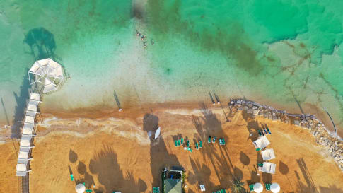 Aerial view of the Dead Sea at sunset