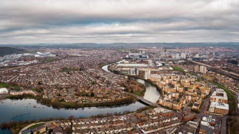 Aerial view of Cardiff Bay