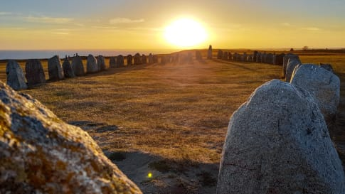 Ale's Stones (Ales stenar), a megalithic monument in Skåne, Sweden.