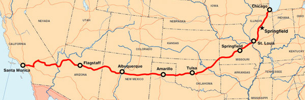 Map of Route 66 Route