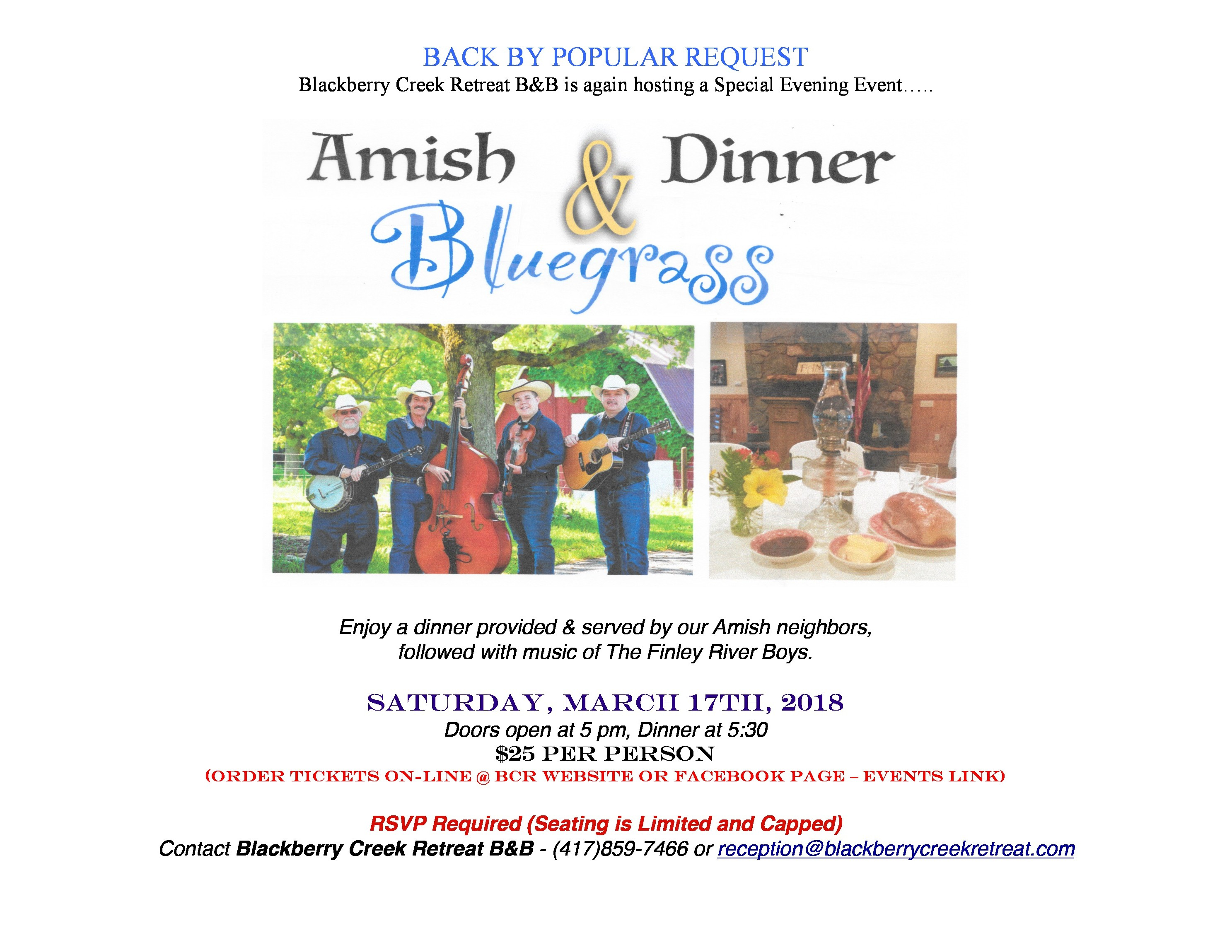 Amish Dinner and Bluegrass