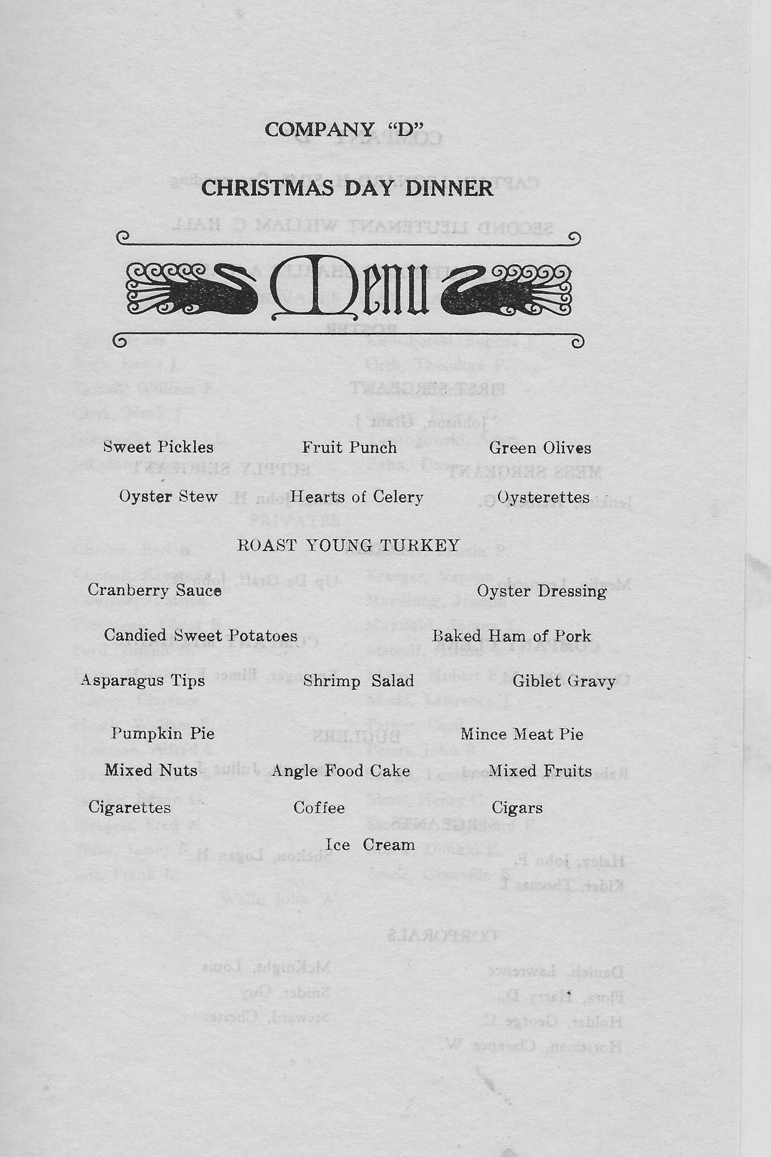 1934 Menu - Shrimp Salad