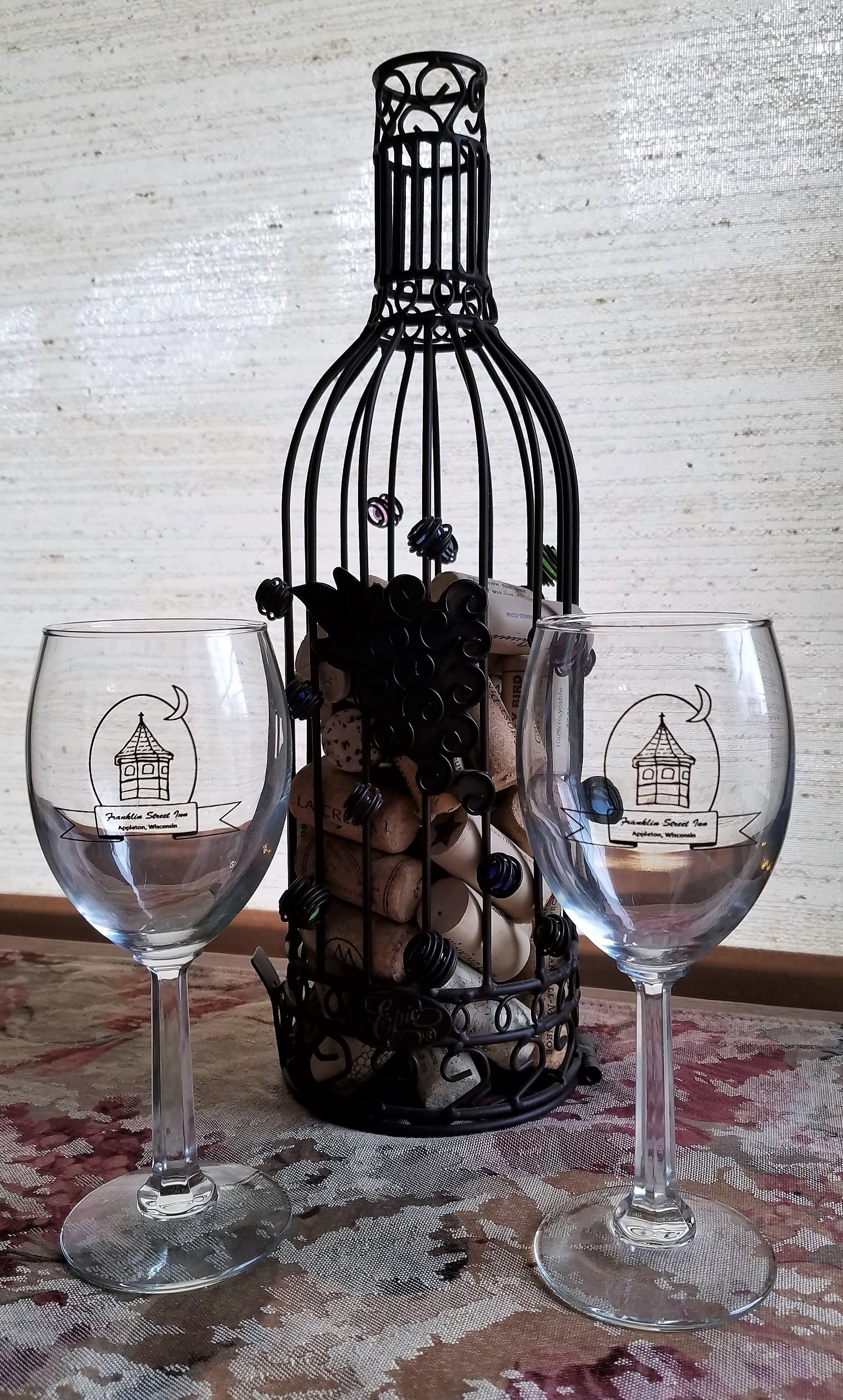 Franklin Street Inn logo wine glasses