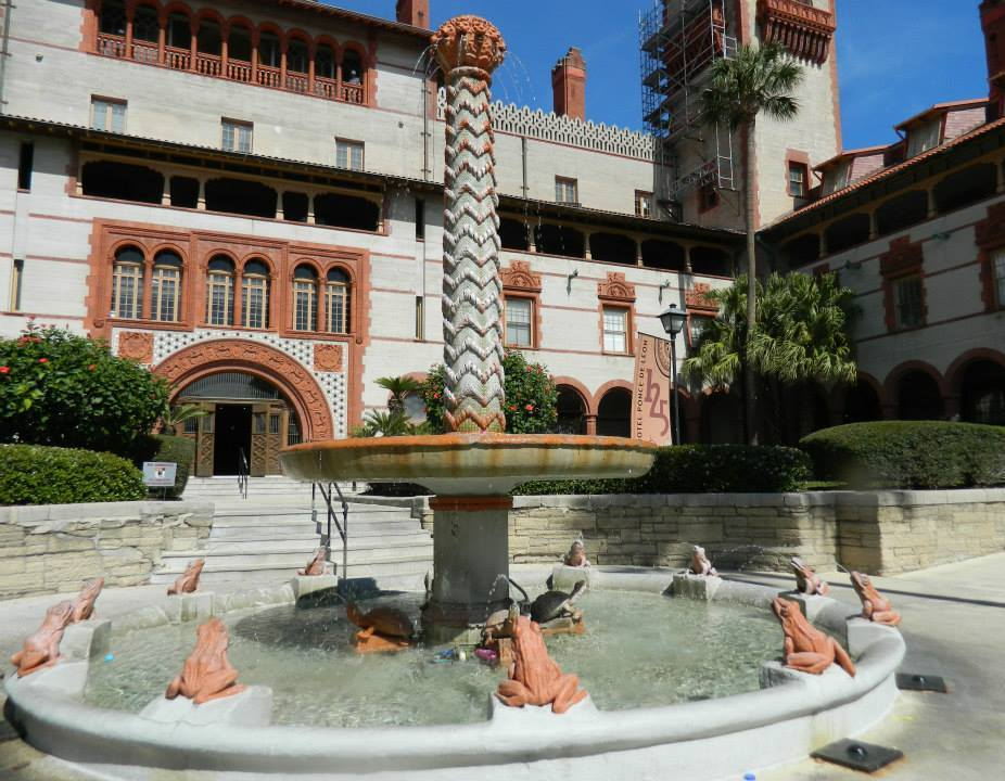 Fountain of frogs and turtles at Flagler College