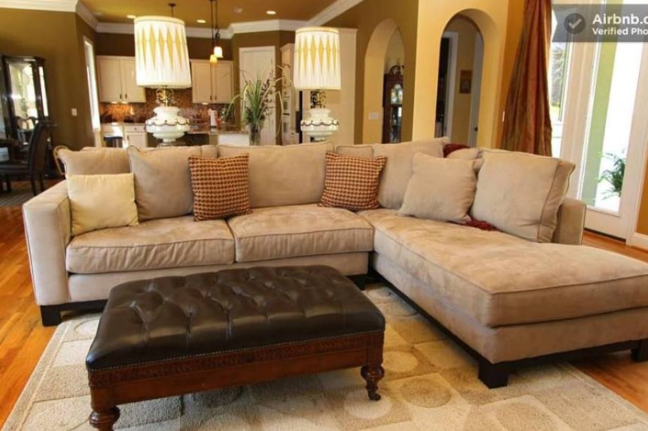 massive sectional sofa and living room at The Villa at Waters Edge - a Luxury Vacation Rental on Lake Wylie in Belmont NC