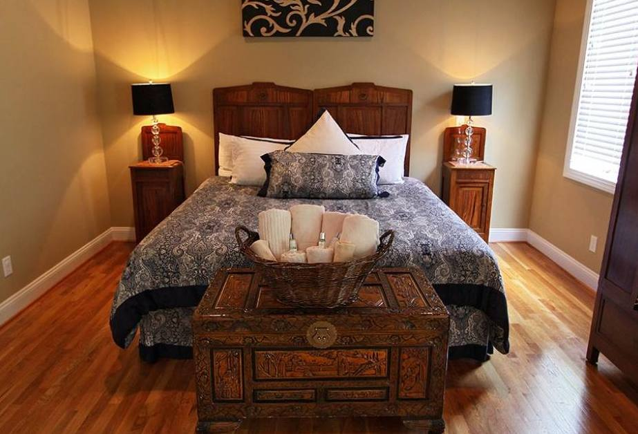 comfortable bedroom at The Villa at Waters Edge - a Luxury Vacation Rental on Lake Wylie in Belmont NC