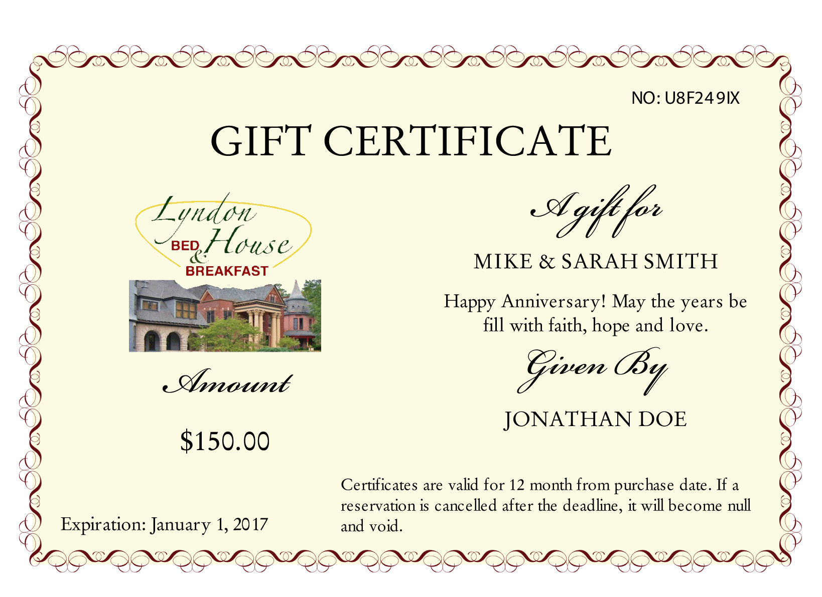 lyndon house gift certificates
