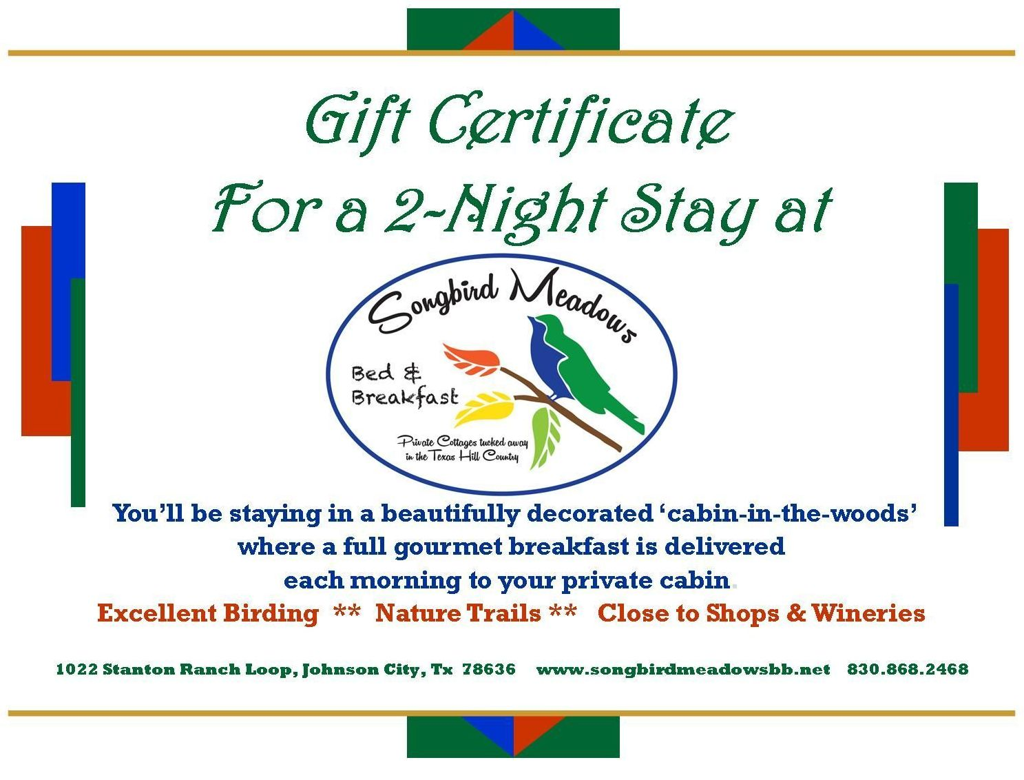 Gift certificates songbird meadows bb johnson city tx to purchase a gift certificate 1betcityfo Gallery