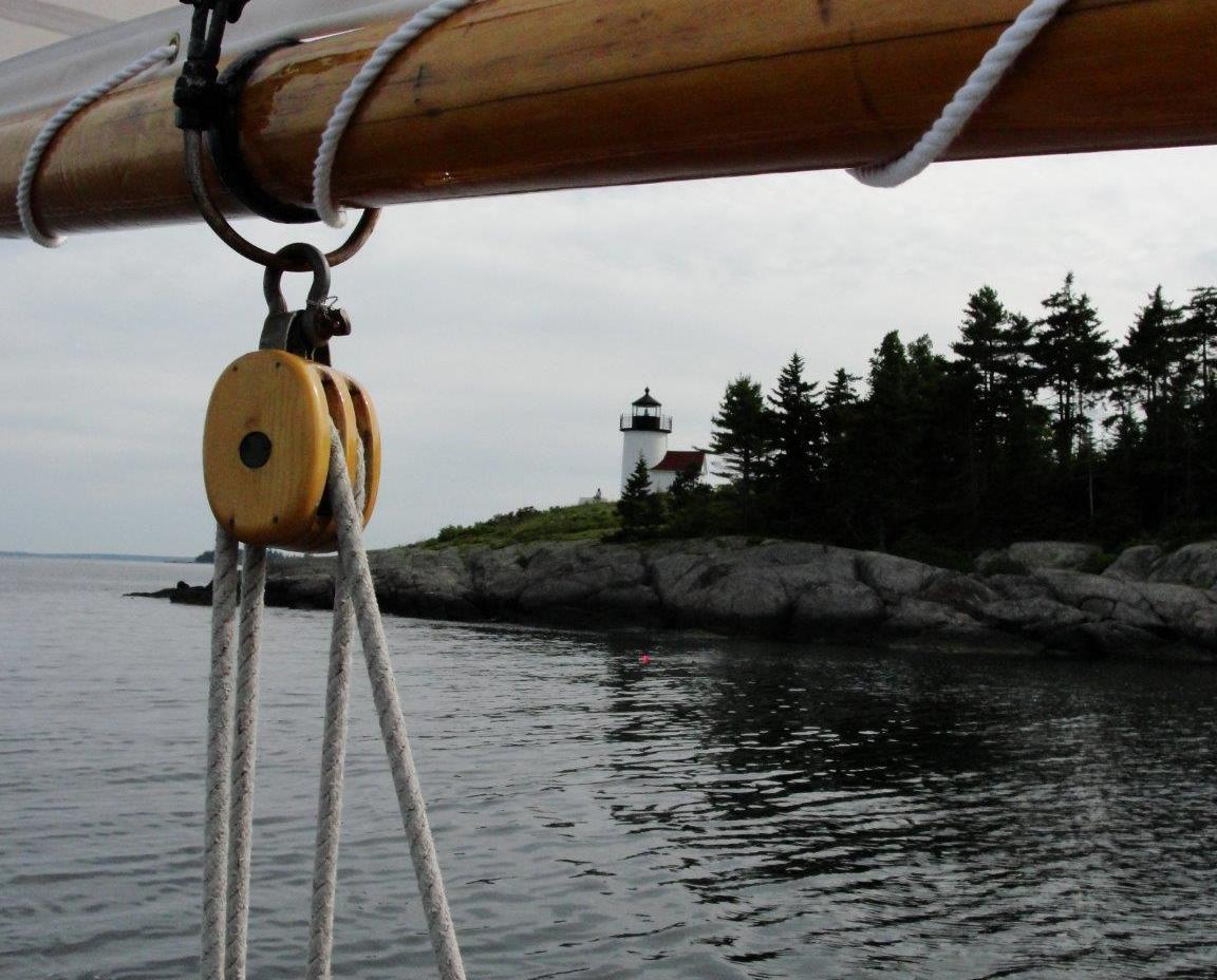 sailing past Curtis Island