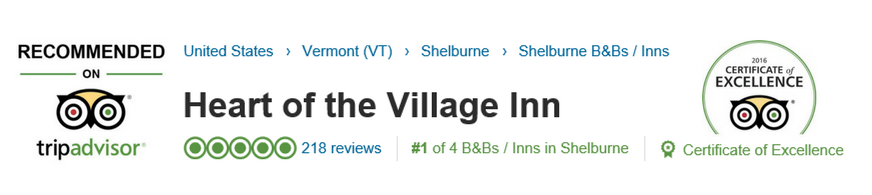 Heart of the Village TripAdvisor 2016 Certificate of Excellence Recommended on TripAdvisor
